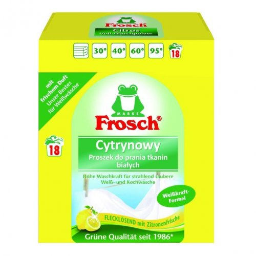 Pulbere Frosch pentru spălarea țesăturilor albe de lămâie 1.35 kg