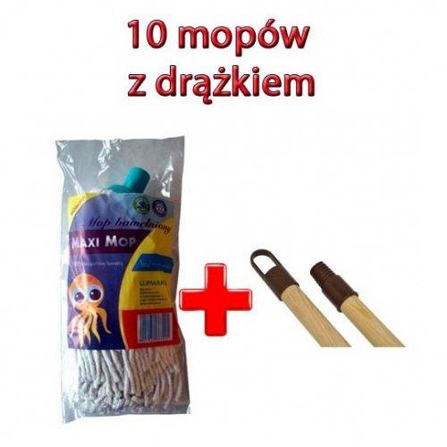 Set de 10 Mops Maxi + 10 bare de lemn 130cm